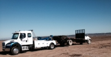 stake bed truck towing